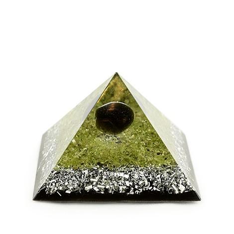 peridot apac tear orgonite pyramid, crystal shop