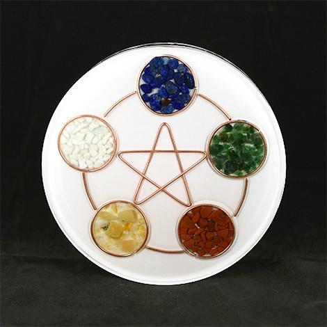 orgonite plate, five elements crystals, selenite crystal