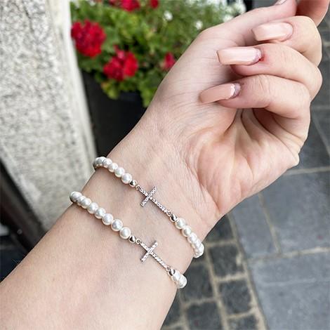 pearl crystal, hand made bracelet, crystal shop, cross symbol bracelet