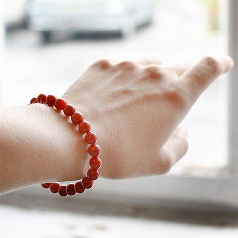 bracelet with red coral, hand made jewelry, 8 mm bracelet