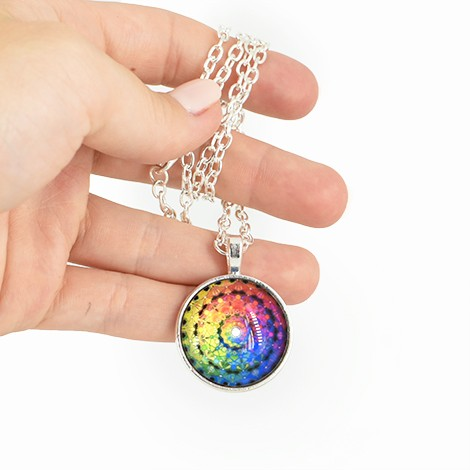 necklace with mandala pendant, crystal shop, children jewelry