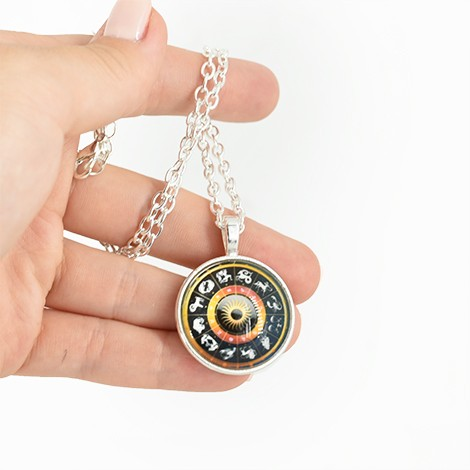 necklace with zodiac pendant, crystal shop, children jewerly