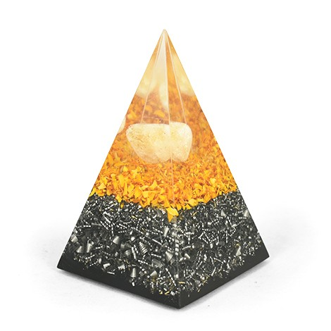 citrine and shungite pyramid, orgonit pyramid