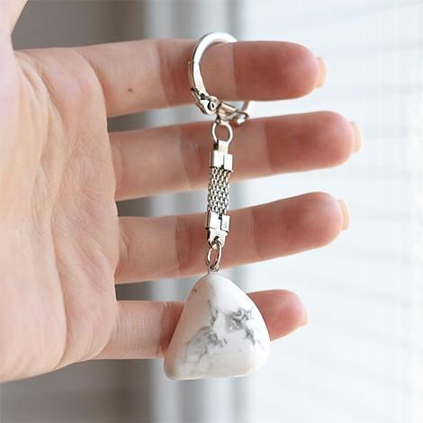 magnesite crystal keychain, crystal shop, energy pendant