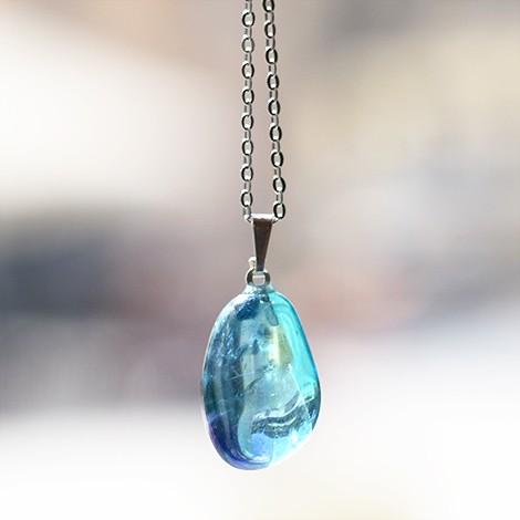 aqua aura crystal pendant, crystal shop