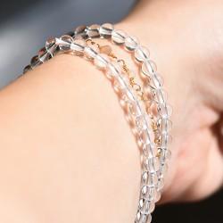rock quartz, clear crystal quartz, bracelet with crystal beads