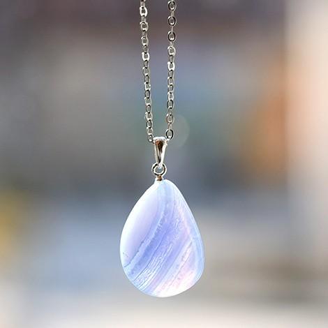 blue chalcedony energy crystal pendant, energy jewerly, crystal shop