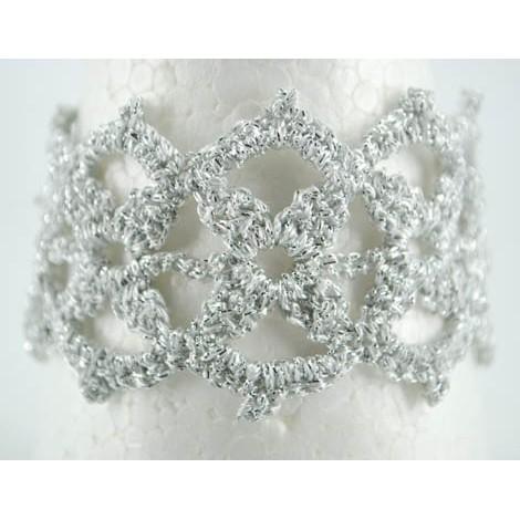 crochet bracelet, handmade, silver crochet bracelet, metallized thread
