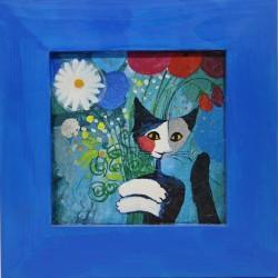 slika v okvirju muca in cvet decoupage Reprodukcija Rosina Wachtmeister lesen okvir mačka