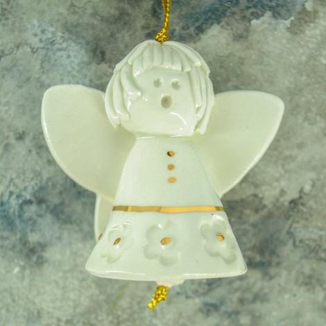 keramični angelček zvonček okras