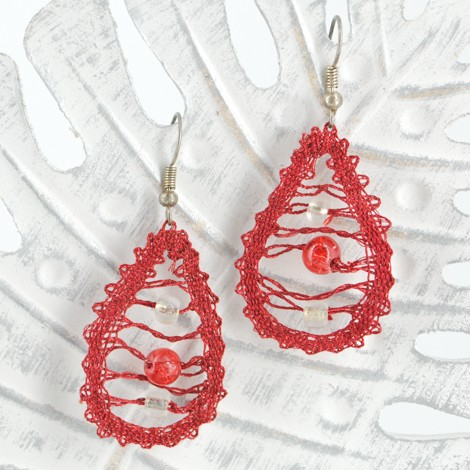 lace earrings red