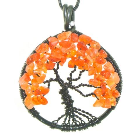 ogrlica energijski nakit kristal drevo življenja karneol pogum zaupanje kreativnost motivacija sreča