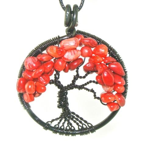energijski nakit ogrlica drevo življenja koral ravnovesje ljubezen zaščita