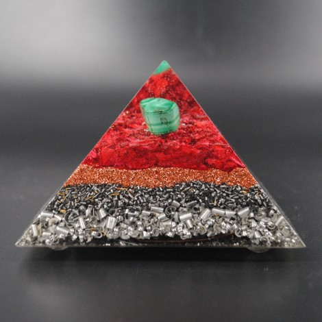 ORGONITE PYRAMID, MALACHITE orgonite, orgone protection, crystal of protection, helps with fear of flying