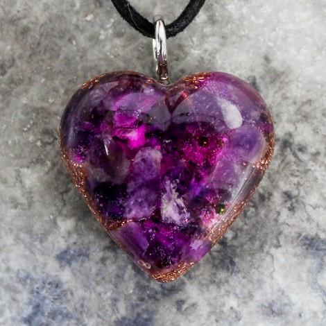 kristal ametist, orgonit, srček, verižica