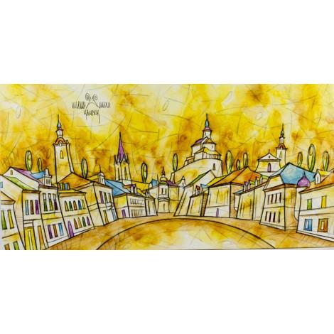mesto kamnik slika mali grad akvarel