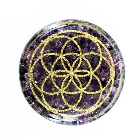 Orgonitni podstavek, orgonit, zaščita, čiščenje vode, zaščita doma, kristal, kristali, ametist, črni turmalin, šungit