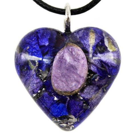 energy jewelry orgonite charoite pendant love relationship heart