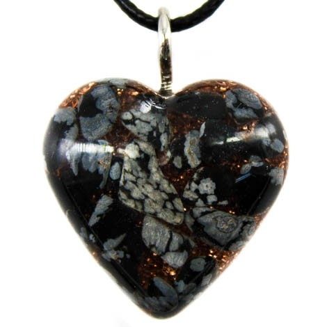 necklace pendant energy jewelry obsidian snow intuition clarity of mind orgonite