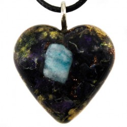 Orgonite, crystal, larimar, energy jewelry, heart, necklace