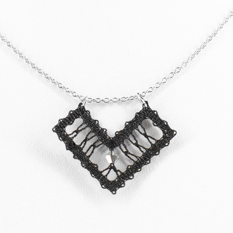 Idrija lace, handmade, black, necklace