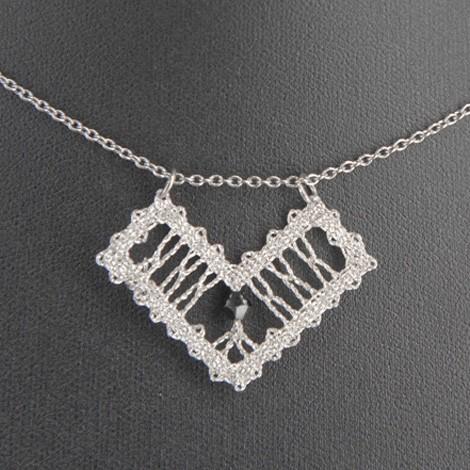 Idrija lace, handmade, white, necklace