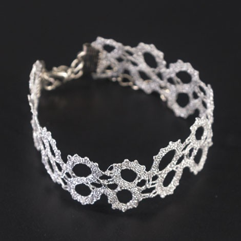 Idrija lace, handmade, white, bracelet, jewelry