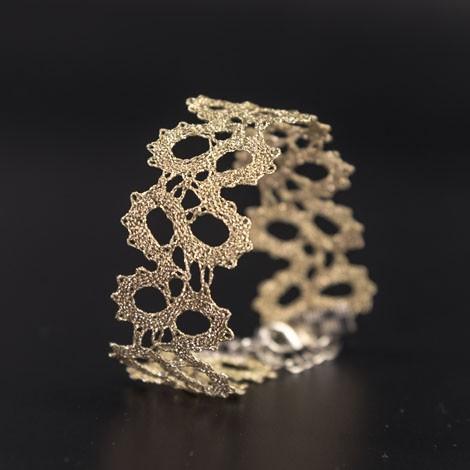 Idrija lace, handmade, old gold, bracelet, jewelry