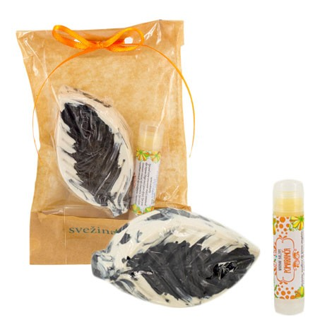 gift package orange, natural soap with charcoal, natural orange lip balm, gift idea, gift for women, black soap