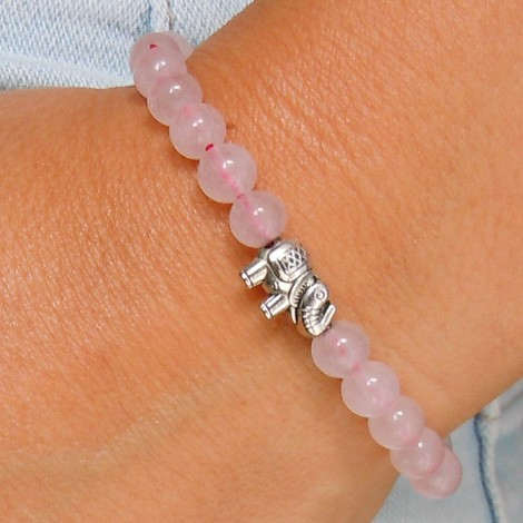 ROSE QUARTZ bracelet, energy jewelry, elephant