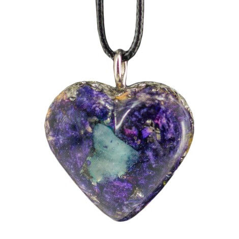 Orgonite, crystal, AQUAMARINE, energy jewelry, heart, necklace
