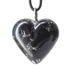 Orgonit, kristal, črni obsidian, enegijski nakit, srce, ogrlica,