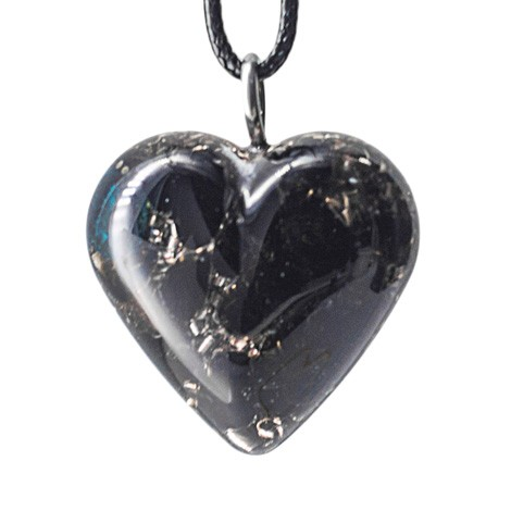 Orgonite, crystal, black obsidian, energy jewelry, heart, necklace