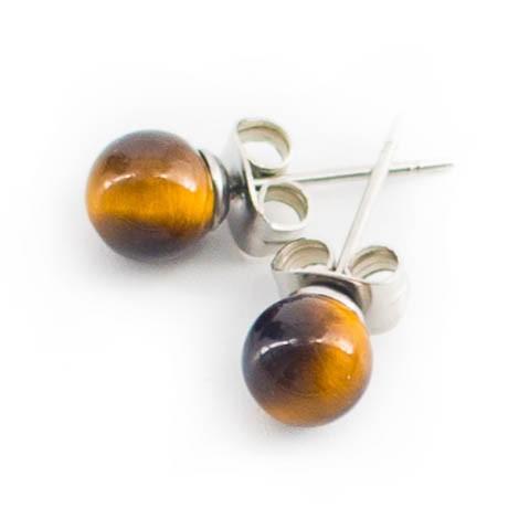 mini earrings with semi-precious stones, tiger eye
