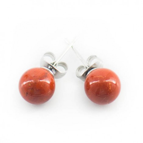 mini earrings with semi-precious stones, RED JASPER