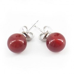 mini earrings with semi-precious stones, carnelian