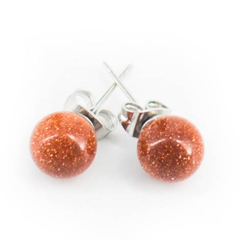 earrings with semi-precious stones, sunstone