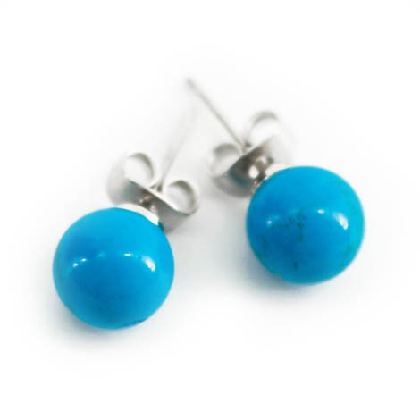 mini earrings with semi-precious stones, blue howlite