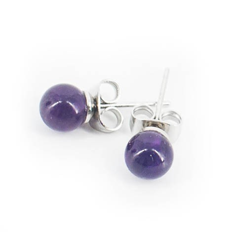 mini earrings with semi-precious stones, amethyst