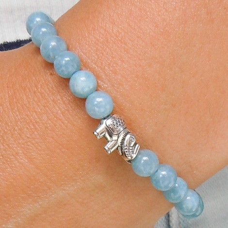 blue chalcedony bracelet elephant energy jewelry