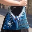 UNIKATNA ROČNO IZDELANA TORBICA IZ JEANSA in potiskanega bombaža, torbica za mlade, torbica iz tekstila