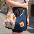 UNIKATNA ROČNO IZDELANA TORBICA IZ potiskanega bombaža, torbica za mlade, torbica iz tekstila