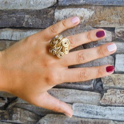 Metal wire ring, golden color, handmade