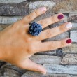 Metal wire ring, blue color, handmade