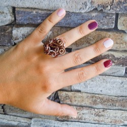 Metal wire ring, copper color, handmade