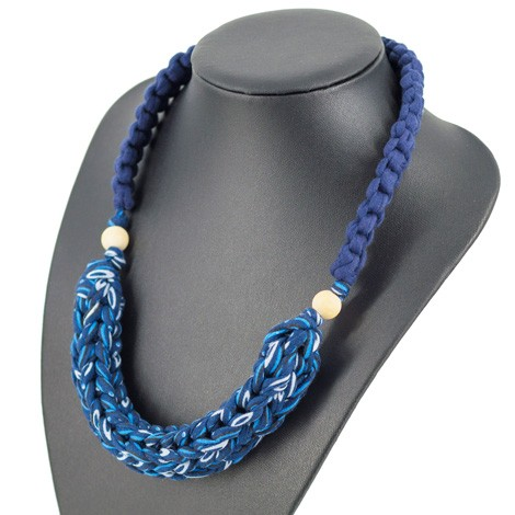 CROCHET NECKLACE, blue, handmade