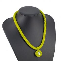 CROCHET NECKLACE, green, handmade