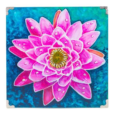 shielded edges, PICTURE, handmade, flower on blue background