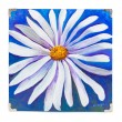 shielded edges, PICTURE, handmade, flower on blue background