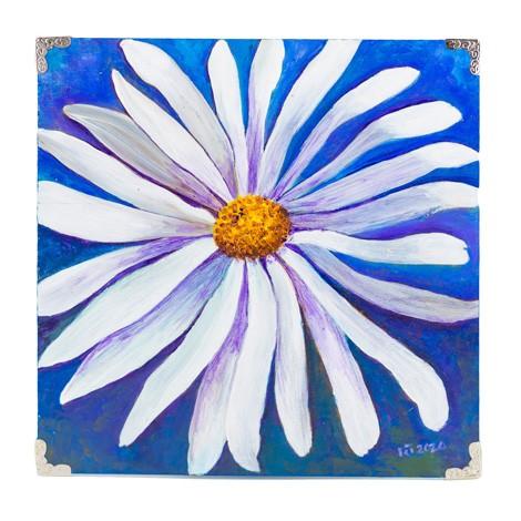 Kovinsko zaščiteni robovi, okvir, SLIKA, ročno delo, roža na modrem ozadju